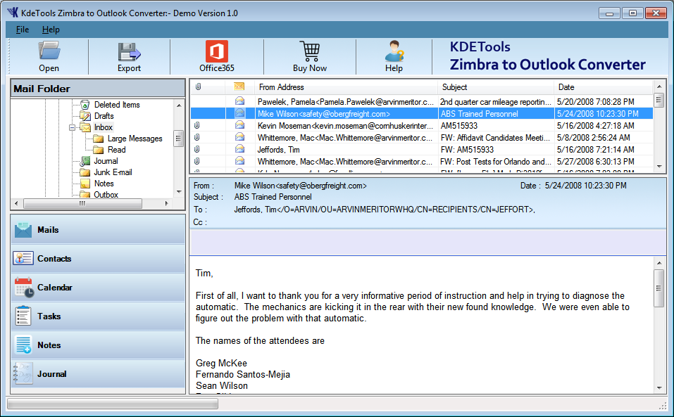 Zimbra Preview with Software